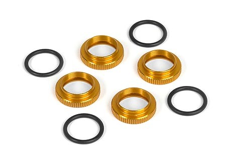 XRAY 308040-O - SHOCK ADJ. NUT ALU + O-RING - ORANGE (4)