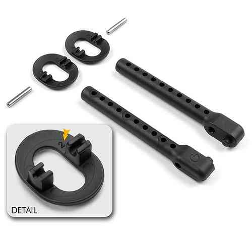 XRAY 301334 - REAR BODY MOUNT SET +2MM HEIGHT