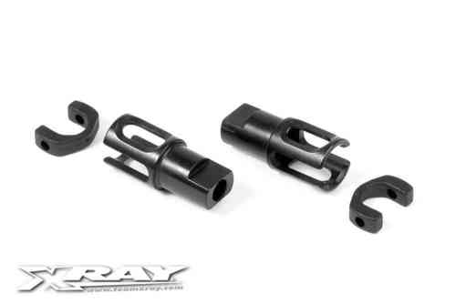 XRAY 305137 - STEEL SOLID AXLE DRIVESHAFT ADAPTERS - HUDY SPRING STEEL™ (2 pcs)