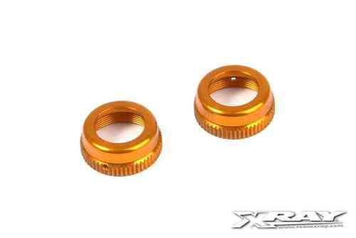 XRAY 308353-O - T4 ALU SHOCK CAP-NUT WITH VENT HOLE - ORANGE (2)