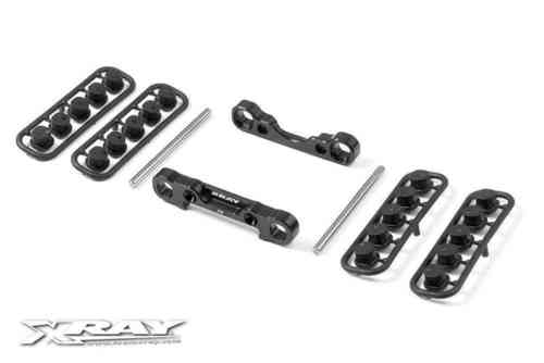 XRAY 353304 - XB9 2013 Alu Rear Low. Susp. Holders Set - Square Adj. Roll-C.