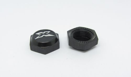 XRAY 355265 - XB8 - Wheel Nut With Cover - Hard Coated - BLACK (2)