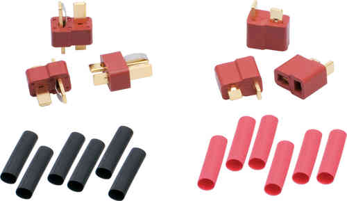 LRP 65831 -  US-style speedo/battery connectors incl. heatshrink (3 x Female, 3 x Male)