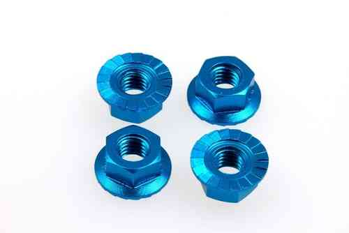 Hiro Seiko 69591 - 4mm Alloy Serrated Wheel Nut - T-BLUE (4 pieces)