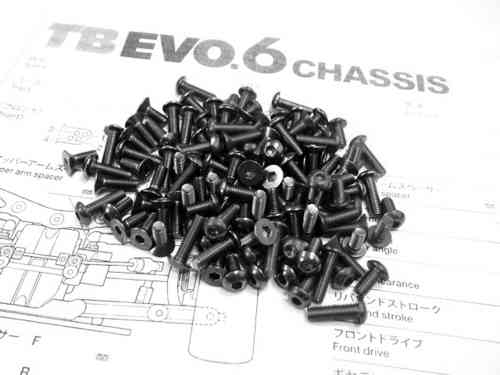 Hiro Seiko 69897 - TAMIYA TB EVO.6 Titanium Hex Socket Screw Set