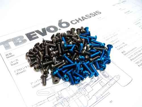 Hiro Seiko 69898 - TAMIYA TB EVO.6 Titanium & Alloy Hex Socket Screw Set