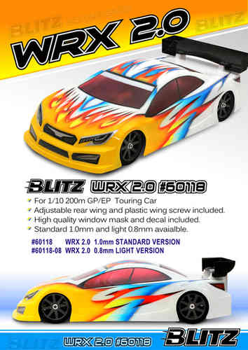 BLITZ 60118-08 - WRX 2.0 - 200mm Touring Body - LIGHTWEIGHT 0.8