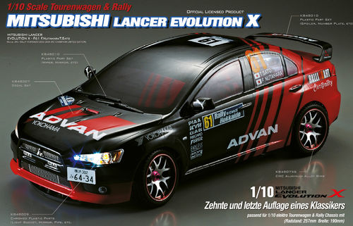 "KillerBody 48001 - Mitsubishi Lancer Evo X Body - 190mm - with ""All-In-Kit"" - 1/10 Touringcar"