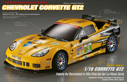 "KillerBody 48011 - Corvette GT2 Karosserie - 190mm - mit ""All-In-Kit"" - 1/10 Tourenwagen"