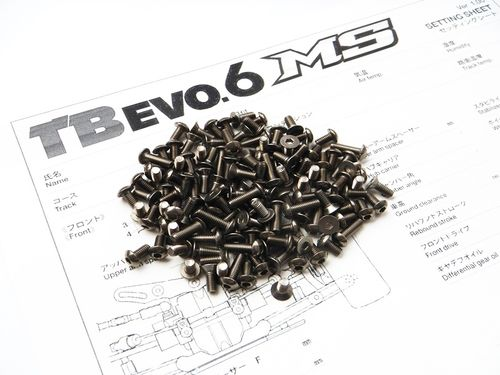 Hiro Seiko 48077 - Tamiya TB EVO6 MS Titanium Hex Socket Screw Set