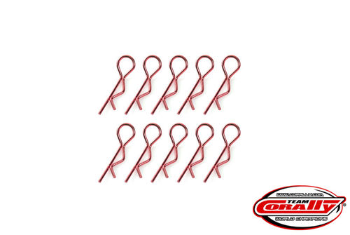 Corally 35101 - Body Clips 45° bent - small - red (10 pieces)