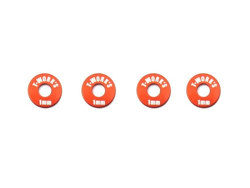 T-Work's TA-029O - Alu Wheel Shim for 1:10 Touring - 1.0mm - ORANGE (4 pcs)