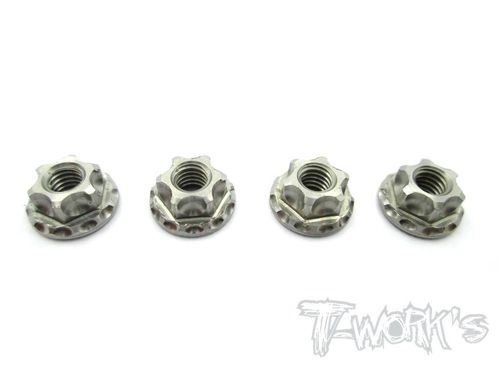 T-Work's TP-025 - Titanium Wheel Nuts - Serrated - M4 (4 pcs)