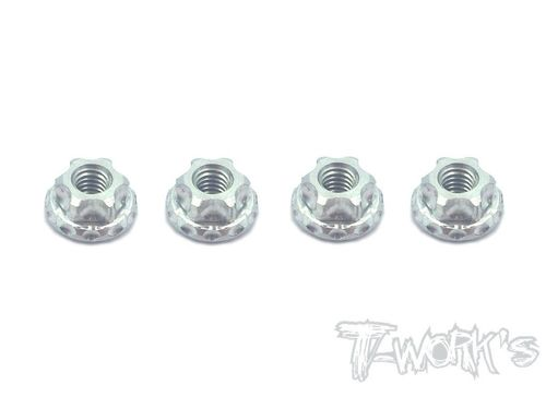 T-Work's TA-083S - Alu Wheel Nuts - Serrated - M4 - SILVER (4 pcs)