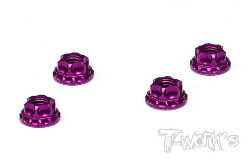 T-Work's TA-083P - Alu Wheel Nuts - Serrated - M4 - PURPLE (4 pcs)