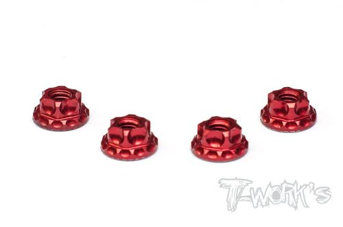 T-Work's TA-083R - Alu Wheel Nuts - Serrated - M4 - RED (4 pcs)
