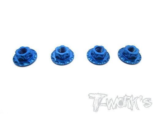 T-Work's TA-089TB - Alu Wheel Nuts - Serrated - Large Contact - M4 - BLUE (4 pcs)
