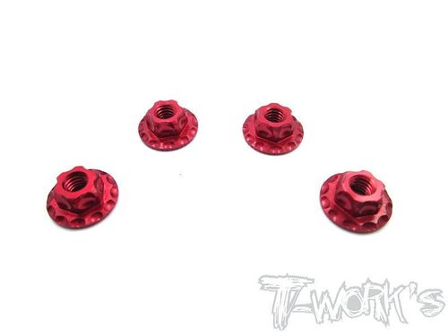 T-Work's TA-089R - Alu Wheel Nuts - Serrated - Large Contact - M4 - RED (4 pcs)