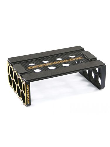Arrowmax 171034 - Car Stand - 1:10 Offroad - Alu & Carbon - Black Golden Honeycomb