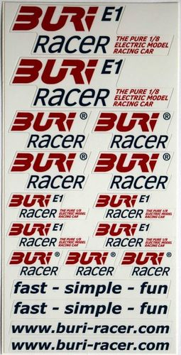 BURI Racer - BURI E1 Decal Sheet - 200x100mm