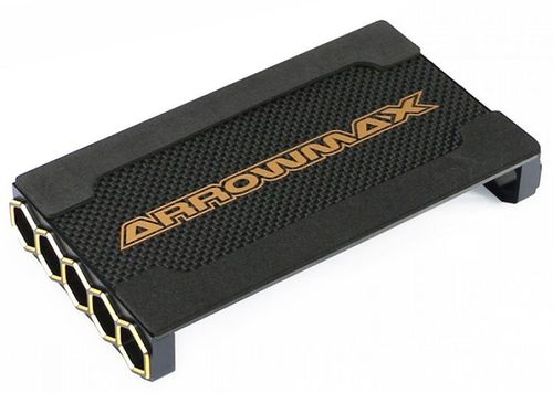 Arrowmax 171093 - Car Stand - 1:10 Touringcar - Alu & Carbon - Black Golden Honeycomb