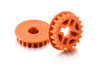 XRAY 305577-O - T4 - Composite Tuning Riemenräder 20T - Graphite - Low Friction - ORANGE (2 Stück)