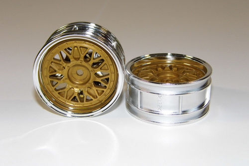 Tamiya 50548 - Touring Car Rims - 26mm - chrome / gold - Porsche GT2 (2 pcs)