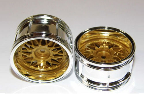 Tamiya 50549 - Touring Car Rims - 30mm - chrome / gold - Porsche GT2 (2 pcs)