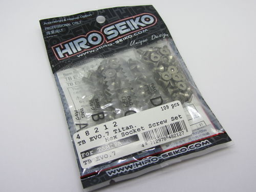 Hiro Seiko 48212 - Tamiya TB EVO 7 - Titanium Hex Socket Screw Set (109 pcs)