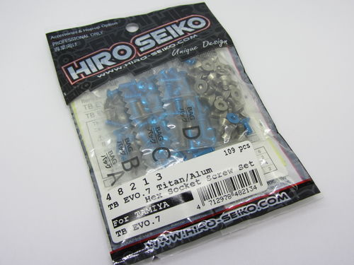 Hiro Seiko 48213 - Tamiya TB EVO 7 - Alloy and Titanium Hex Socket Screw Set T-Blue (109 pcs)