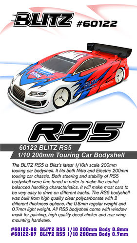 BLITZ 60122-07 - RS5 - 200mm Tourenwagen Karosserie - LIGHTWEIGHT 0.7