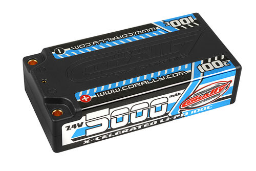 Corally 49705 - X-Celerated 100C LiPo Battery - 5000mAh - 7.4V - Shorty 2S