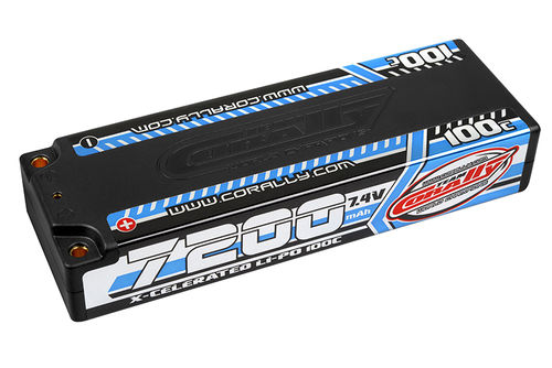 Corally 49720 - X-Celerated 100C LiPo Battery - 7200mAh - 7.4V - Stick 2S