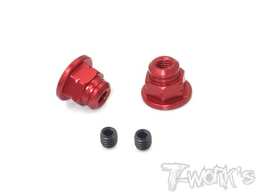 T-Work's TA-129-R - Handle Nuts - for SANWA M17 - RED (2 pcs)