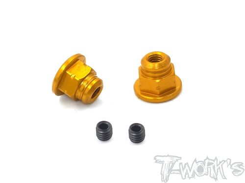 T-Work's TA-129-O - Handle Nuts - for SANWA M17 - ORANGE (2 pcs)