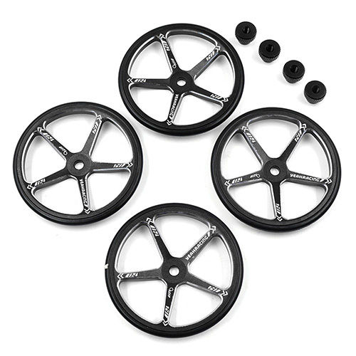 Yeah Racing YT-0142BK - Alu Setup Wheels - for M-Chassis (4 pcs) - BLACK