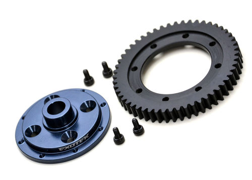 Exotek 1909 - Tekno ET410 - Machined 32P 53T Spur Gear and alloy mounting Plate