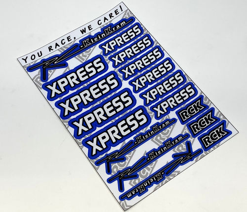 RCK 200010 - Sticker Sheet RC-KleinKram / XPRESS - black/white - BLUE