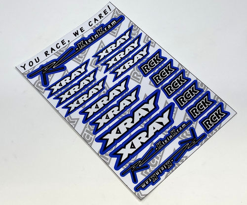 RCK 200013 - Sticker Sheet RC-KleinKram / XRAY - black/white - BLUE