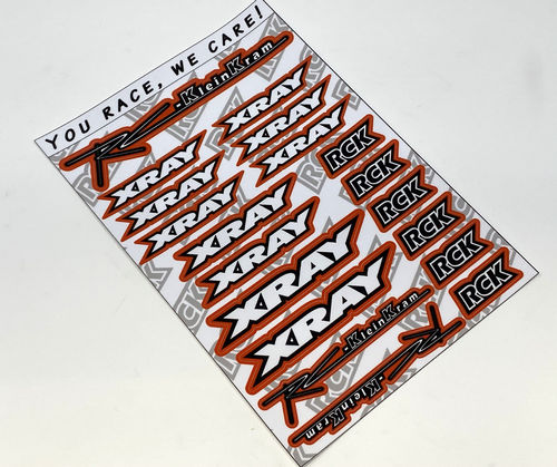 RCK 200014 - Sticker Sheet RC-KleinKram / XRAY - black/white - RED