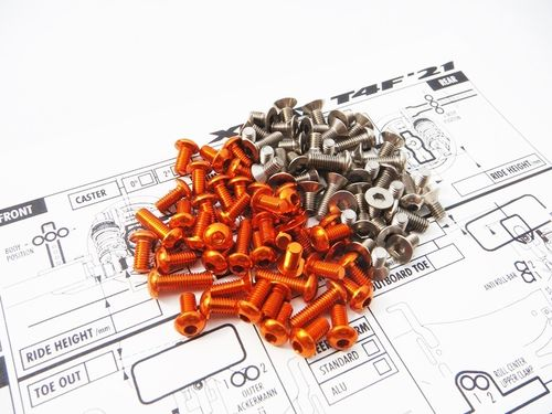 Hiro Seiko 48610 - XRAY T4F'21 - Alu- & Titanium Hex Socket Screw Set - orange (87 pieces)