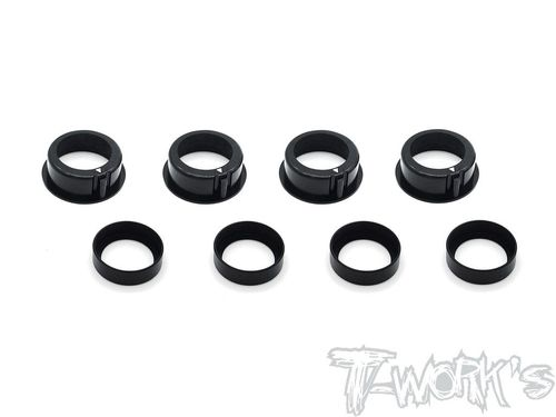 T-Work's TE-222-T4 - Alu Bearing Hub for XRAY T4 17 / 18 / 19 / 20 - with . POM Spacer - BLACK