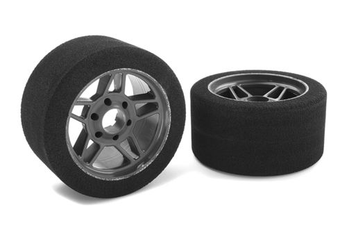 Corally 14712-35 - Attack 1:8 Foam Tires - Front - Carbon Wheel - 35 Shore (2 pcs)