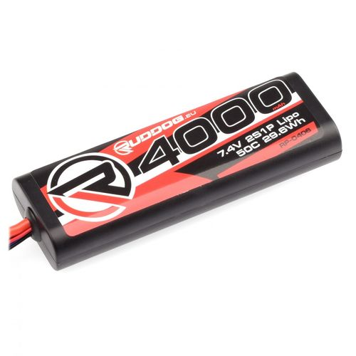 Ruddog Products RP-0406 - 50C LiPo Battery - 4000mAh - 7.4V - Sub-C Stick 2S
